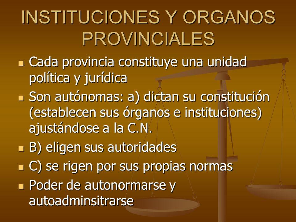 INSTITUCIONES Y ORGANOS PROVINCIALES Cada provincia constituye una unidad política y jurídica Cada provincia constituye una unidad política y jurídica