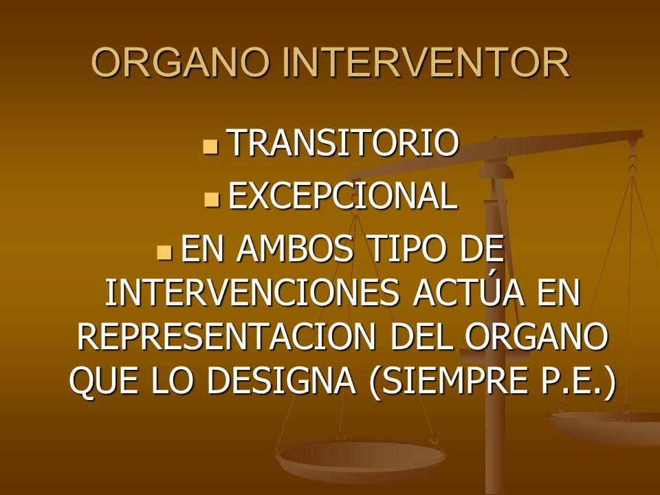 ORGANO INTERVENTOR TRANSITORIO TRANSITORIO EXCEPCIONAL EXCEPCIONAL EN AMBOS TIPO DE INTERVENCIONES ACTÚA EN REPRESENTACION DEL ORGANO QUE LO DESIGNA (