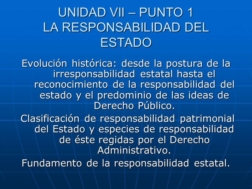 UNIDAD VII – PUNTO 1 LA RESPONSABILIDAD DEL ESTADO Evolución histórica: desde la postura de la irresponsabilidad estatal hasta el reconocimiento de la