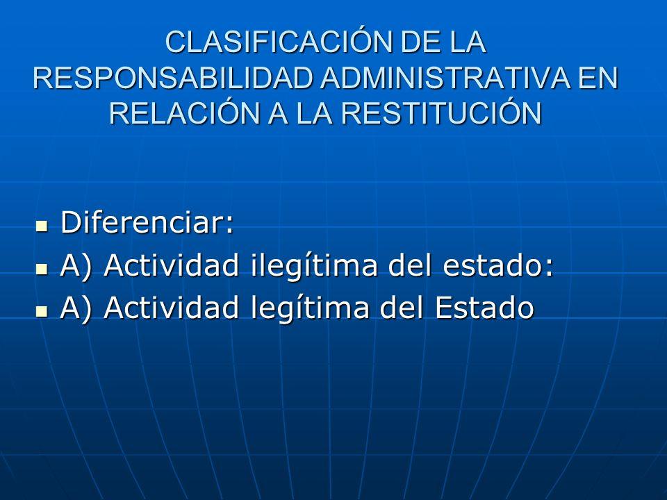 CLASIFICACIÓN DE LA RESPONSABILIDAD ADMINISTRATIVA EN RELACIÓN A LA RESTITUCIÓN Diferenciar: Diferenciar: A) Actividad ilegítima del estado: A) Activi