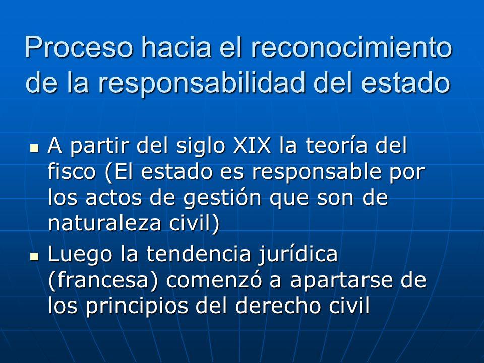 Proceso hacia el reconocimiento de la responsabilidad del estado A partir del siglo XIX la teoría del fisco (El estado es responsable por los actos de