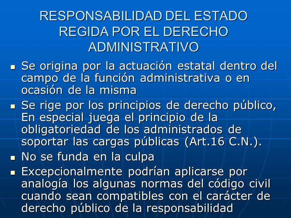 RESPONSABILIDAD DEL ESTADO REGIDA POR EL DERECHO ADMINISTRATIVO Se origina por la actuación estatal dentro del campo de la función administrativa o en