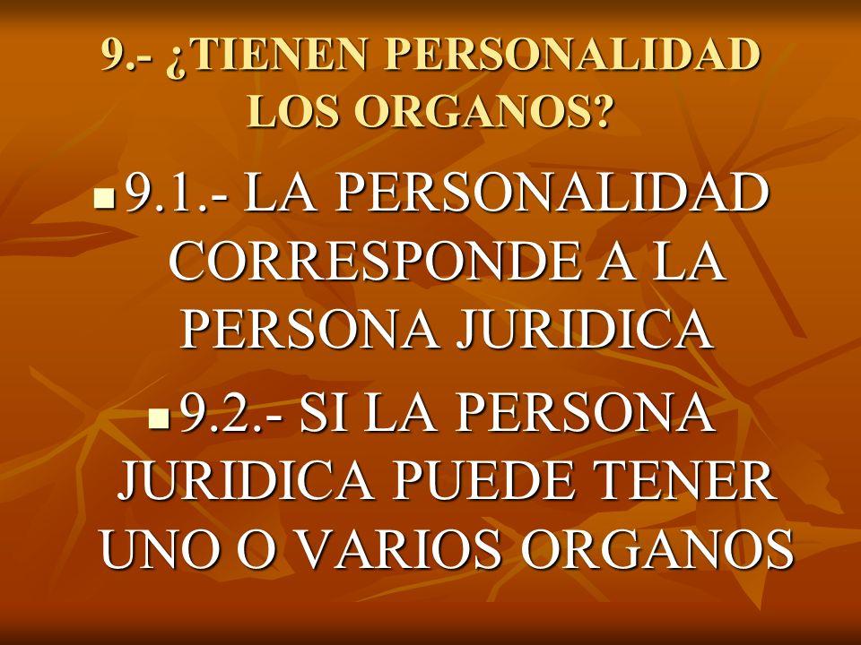 9.- ¿TIENEN PERSONALIDAD LOS ORGANOS? 9.1.- LA PERSONALIDAD CORRESPONDE A LA PERSONA JURIDICA 9.1.- LA PERSONALIDAD CORRESPONDE A LA PERSONA JURIDICA