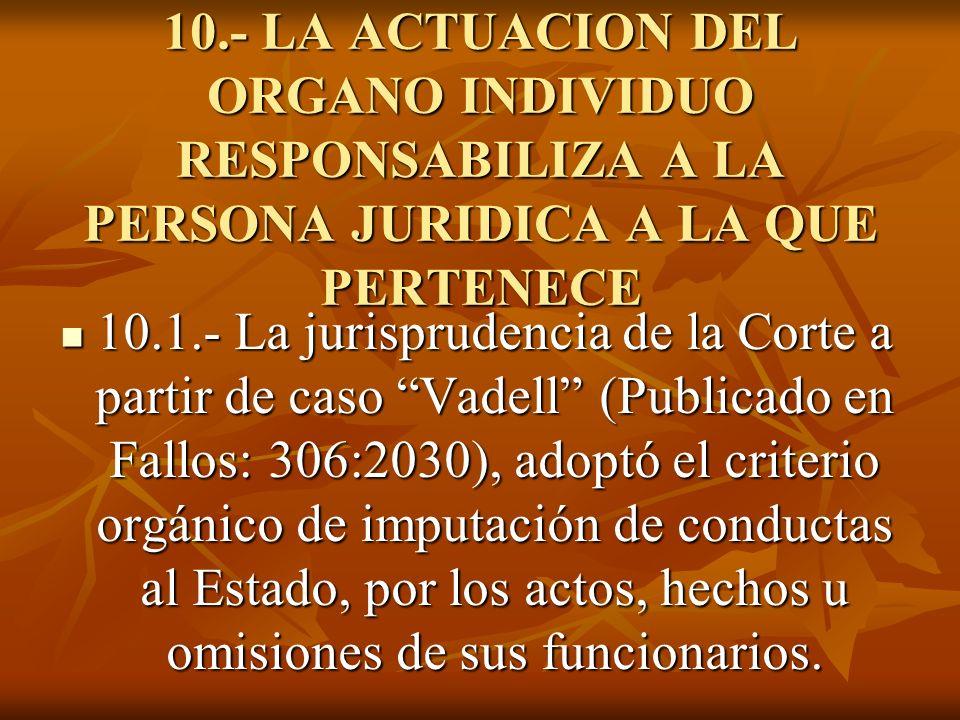 10.- LA ACTUACION DEL ORGANO INDIVIDUO RESPONSABILIZA A LA PERSONA JURIDICA A LA QUE PERTENECE 10.1.- La jurisprudencia de la Corte a partir de caso V