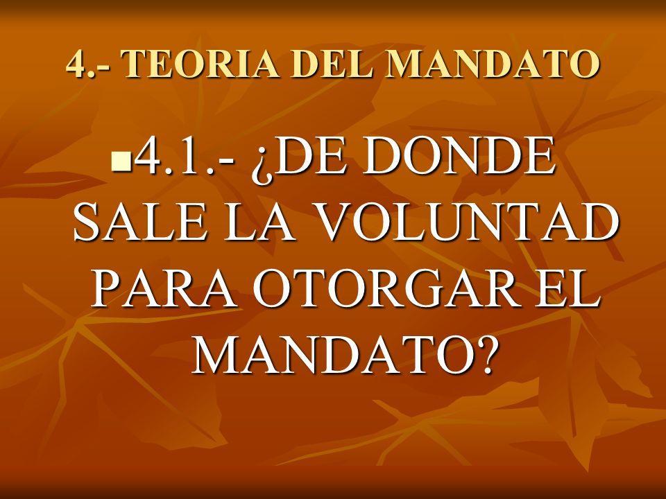 4.- TEORIA DEL MANDATO 4.1.- ¿DE DONDE SALE LA VOLUNTAD PARA OTORGAR EL MANDATO? 4.1.- ¿DE DONDE SALE LA VOLUNTAD PARA OTORGAR EL MANDATO?