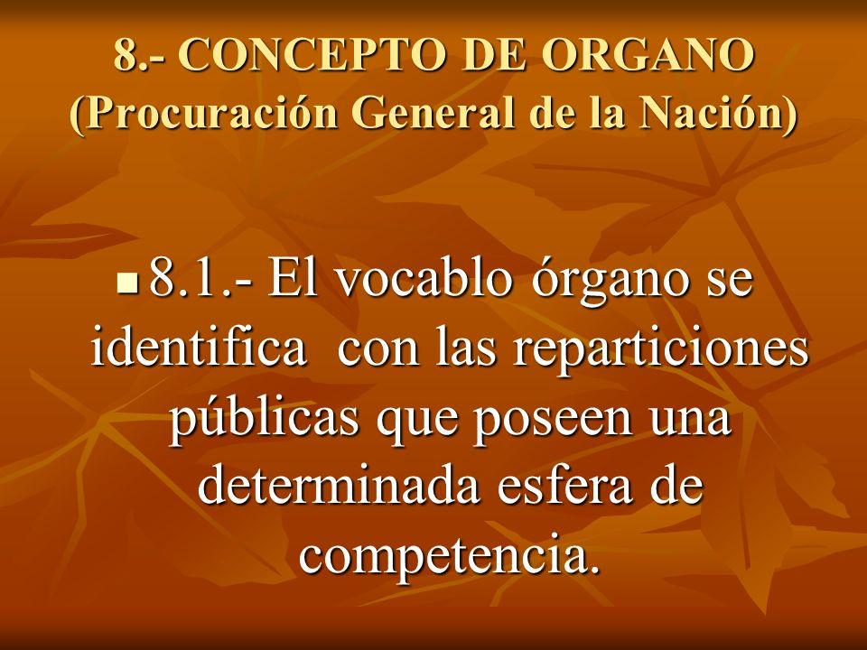 8.- CONCEPTO DE ORGANO (Procuración General de la Nación) 8.1.- El vocablo órgano se identifica con las reparticiones públicas que poseen una determin
