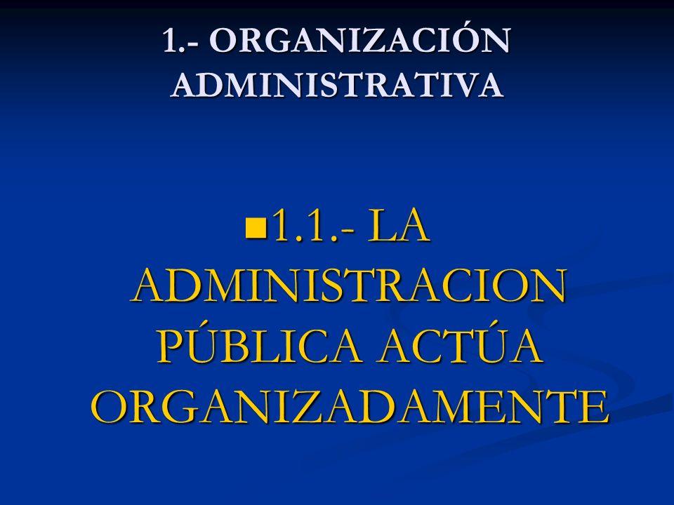 1.- ORGANIZACIÓN ADMINISTRATIVA 1.1.- LA ADMINISTRACION PÚBLICA ACTÚA ORGANIZADAMENTE