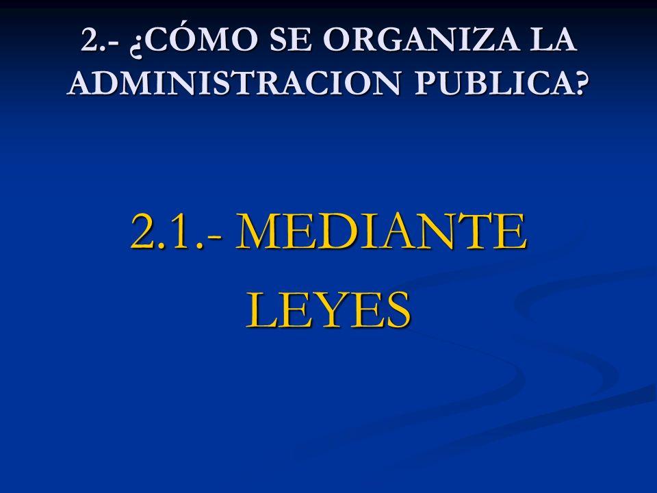 2.- ¿CÓMO SE ORGANIZA LA ADMINISTRACION PUBLICA? 2.1.- MEDIANTE LEYES