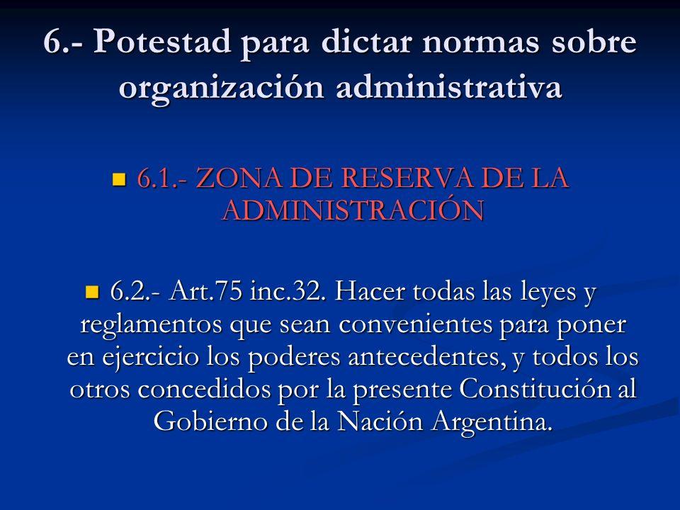 6.- Potestad para dictar normas sobre organización administrativa 6.1.- ZONA DE RESERVA DE LA ADMINISTRACIÓN 6.1.- ZONA DE RESERVA DE LA ADMINISTRACIÓ