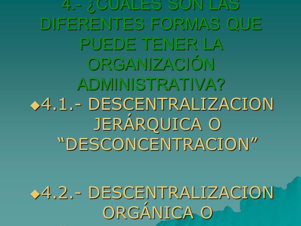 4.- ¿CUÁLES SON LAS DIFERENTES FORMAS QUE PUEDE TENER LA ORGANIZACIÓN ADMINISTRATIVA? 4.1.- DESCENTRALIZACION JERÁRQUICA O DESCONCENTRACION 4.1.- DESC