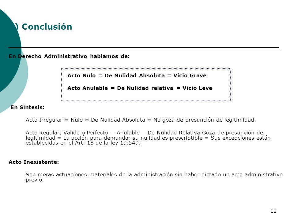 11 En Derecho Administrativo hablamos de: Acto Nulo = De Nulidad Absoluta = Vicio Grave Acto Anulable = De Nulidad relativa = Vicio Leve En Síntesis: