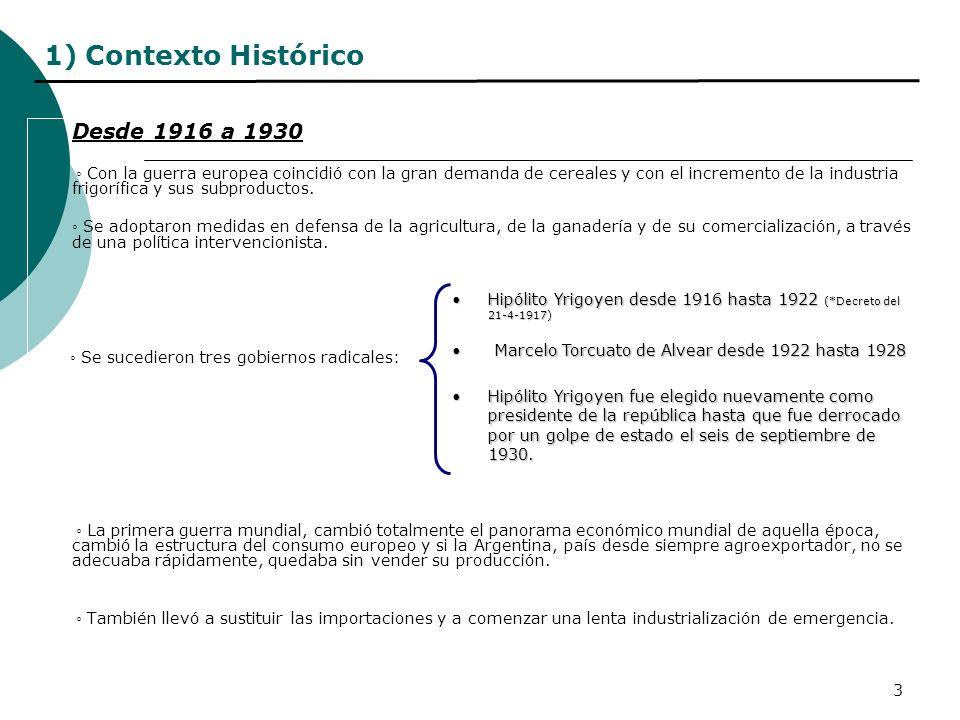 3 1) Contexto Histórico Desde 1916 a 1930 Con la guerra europea coincidió con la gran demanda de cereales y con el incremento de la industria frigoríf