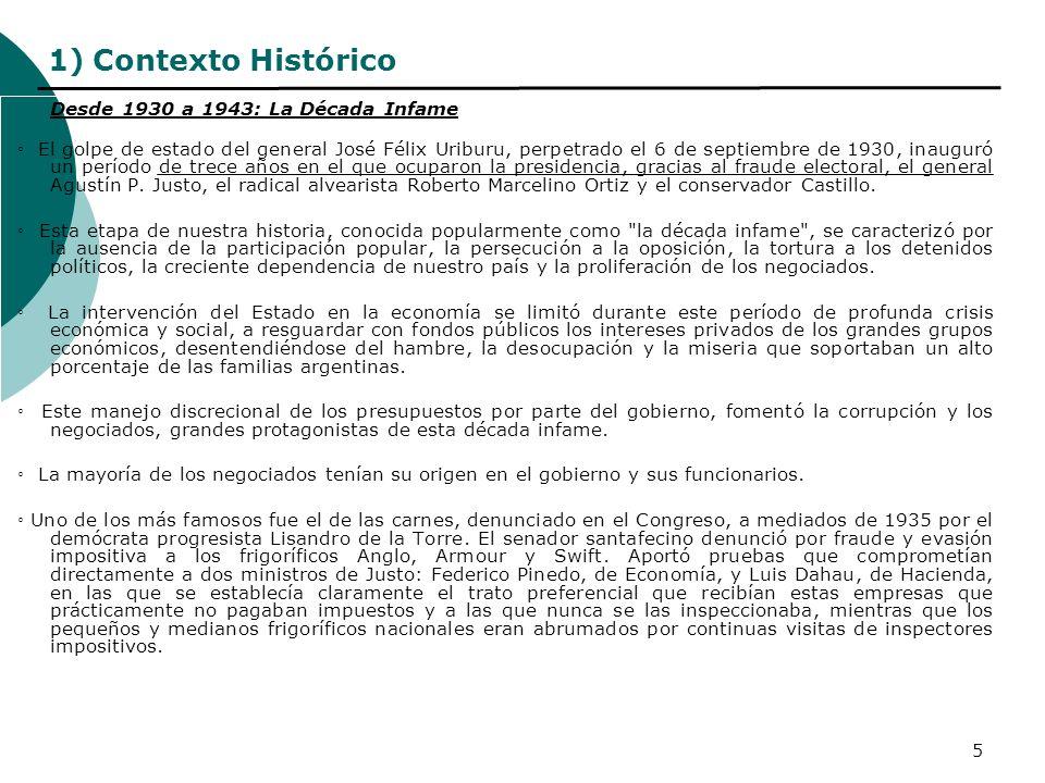 5 1) Contexto Histórico Desde 1930 a 1943: La Década Infame El golpe de estado del general José Félix Uriburu, perpetrado el 6 de septiembre de 1930,