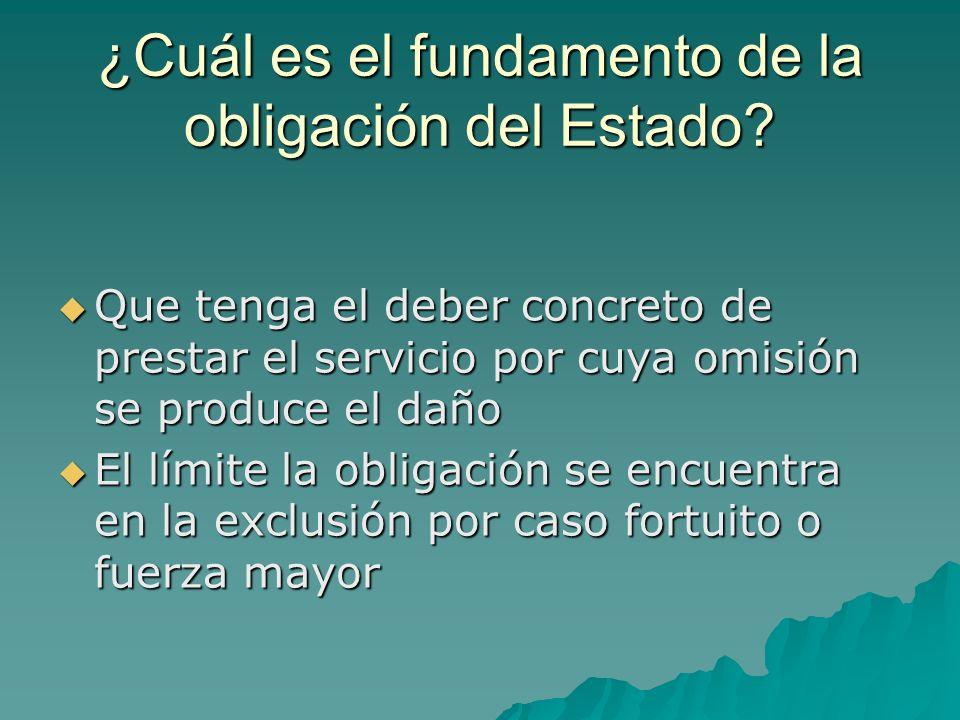 ¿Cuál es el fundamento de la obligación del Estado? Que tenga el deber concreto de prestar el servicio por cuya omisión se produce el daño Que tenga e