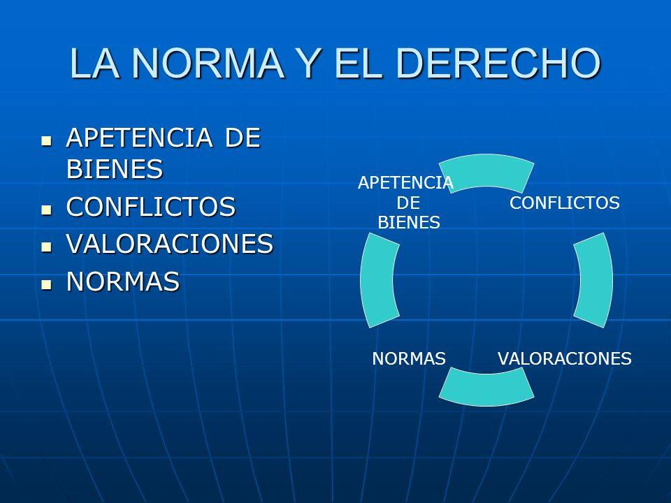 LA NORMA Y EL DERECHO APETENCIA DE BIENES APETENCIA DE BIENES CONFLICTOS CONFLICTOS VALORACIONES VALORACIONES NORMAS NORMAS CONFLICTOS VALORACIONESNOR