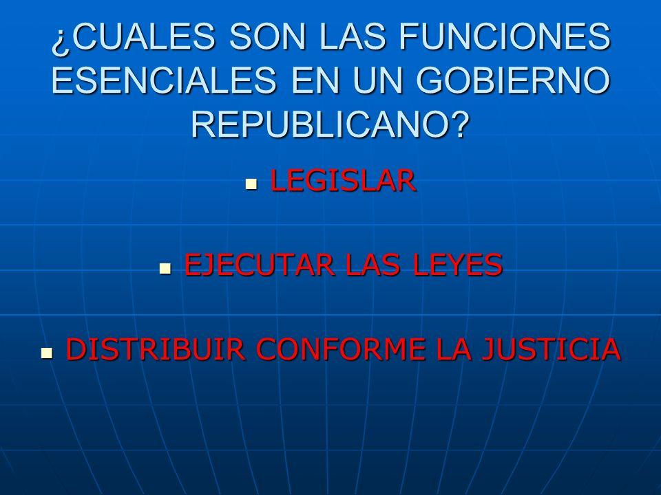 ¿CUALES SON LAS FUNCIONES ESENCIALES EN UN GOBIERNO REPUBLICANO? LEGISLAR EJECUTAR LAS LEYES DISTRIBUIR CONFORME LA JUSTICIA