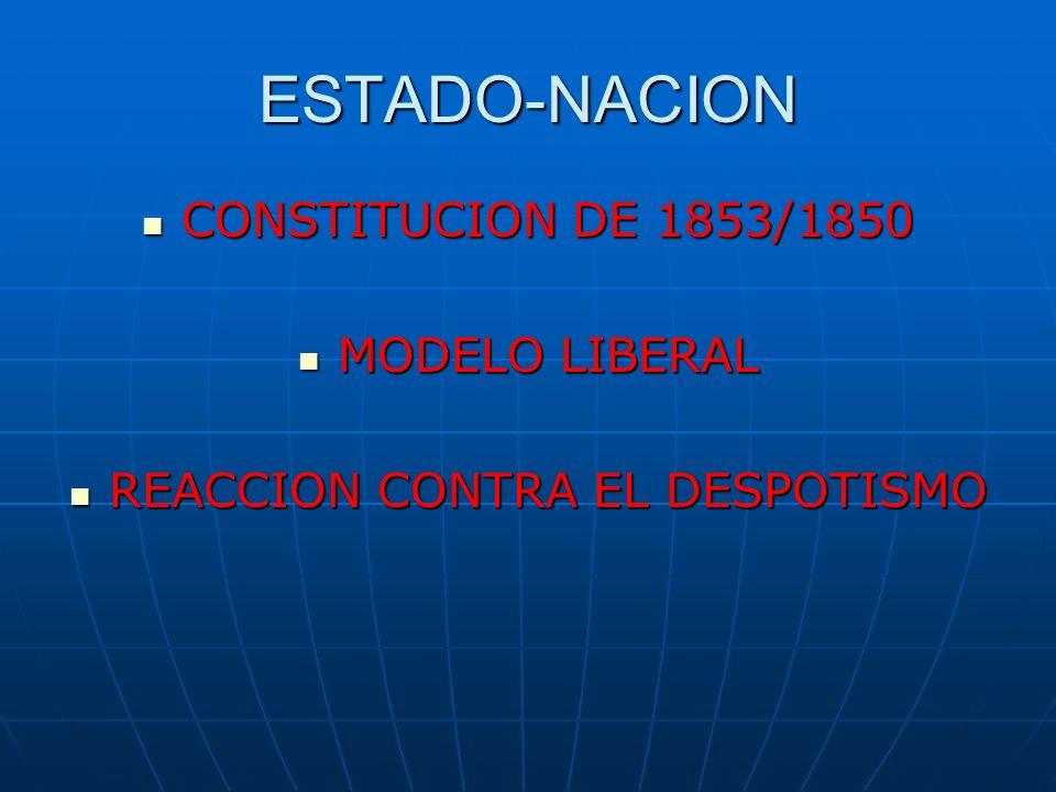 ESTADO-NACION CONSTITUCION DE 1853/1850 MODELO LIBERAL REACCION CONTRA EL DESPOTISMO