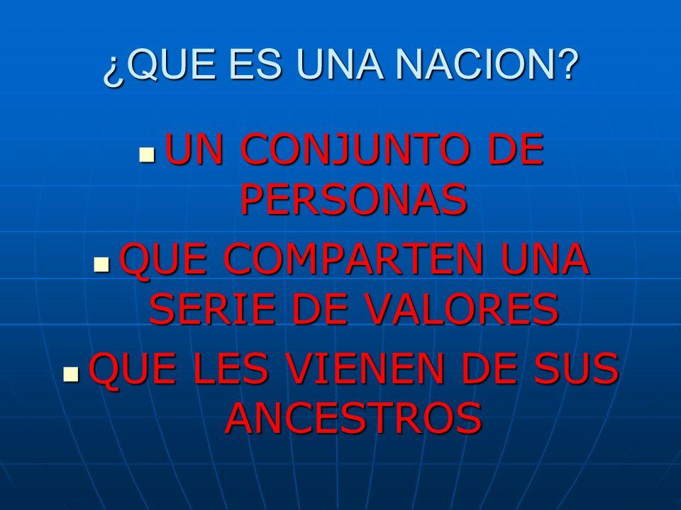 ¿QUE ES UNA NACION? UN CONJUNTO DE PERSONAS QUE COMPARTEN UNA SERIE DE VALORES QUE LES VIENEN DE SUS ANCESTROS