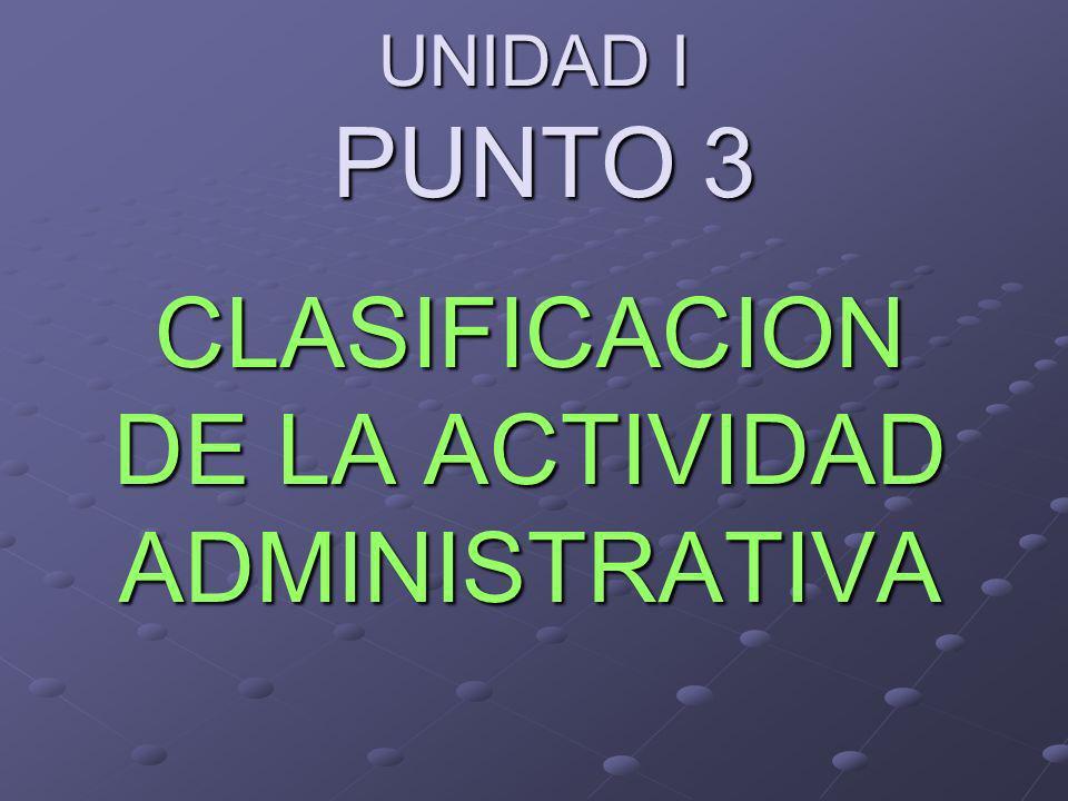 UNIDAD I PUNTO 3 CLASIFICACION DE LA ACTIVIDAD ADMINISTRATIVA