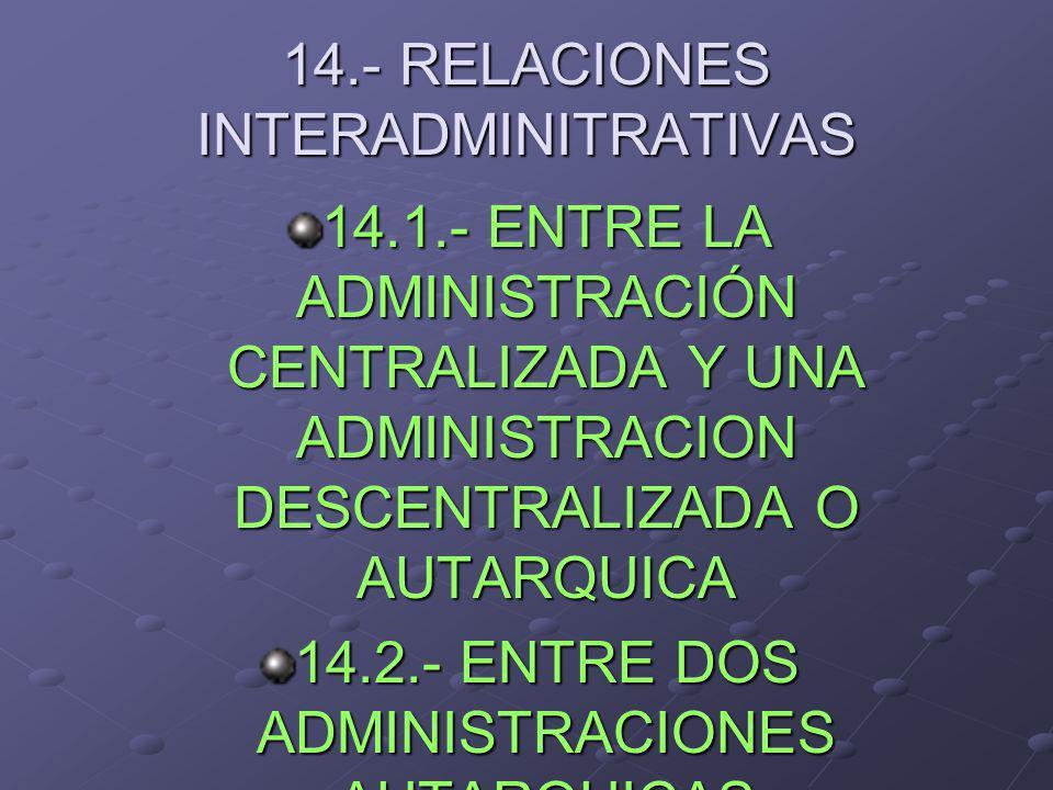 14.- RELACIONES INTERADMINITRATIVAS 14.1.- ENTRE LA ADMINISTRACIÓN CENTRALIZADA Y UNA ADMINISTRACION DESCENTRALIZADA O AUTARQUICA 14.2.- ENTRE DOS ADM