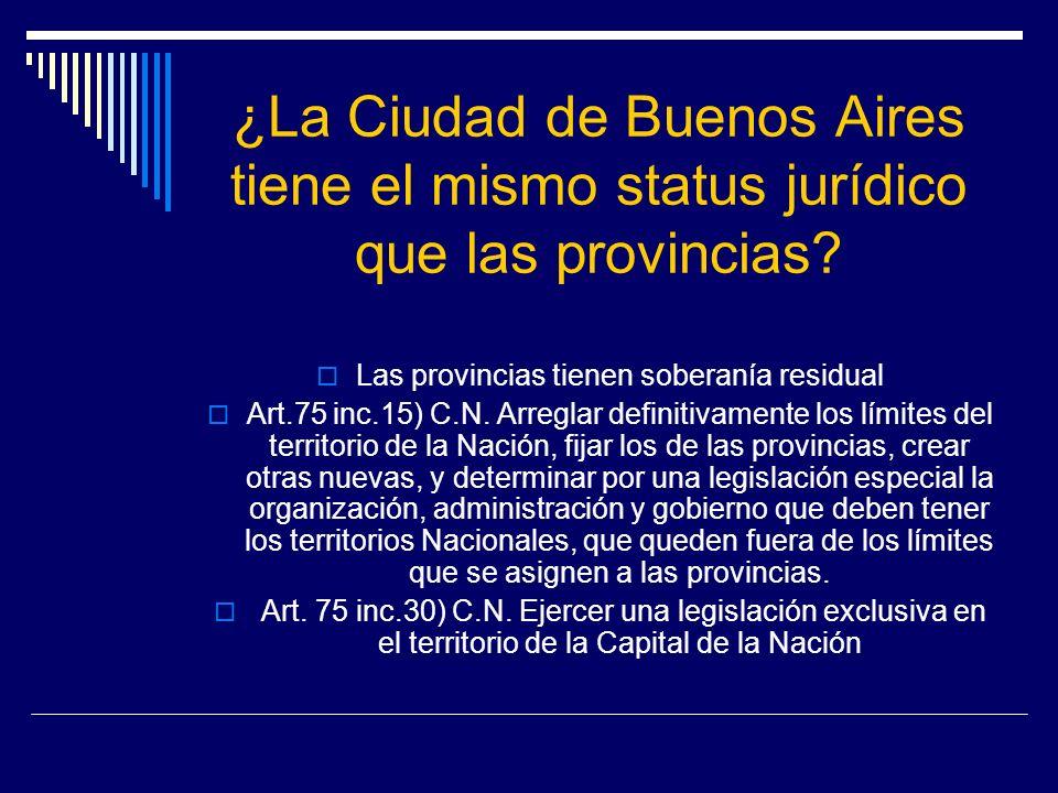 ¿La Ciudad de Buenos Aires tiene el mismo status jurídico que las provincias? Las provincias tienen soberanía residual Art.75 inc.15) C.N. Arreglar de
