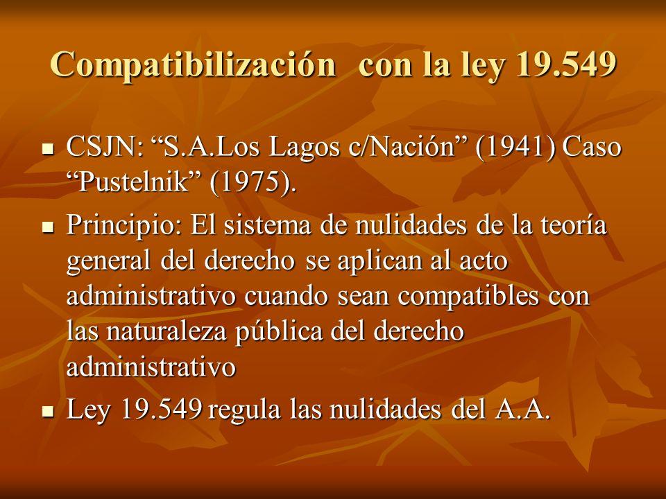 Compatibilización con la ley 19.549 CSJN: S.A.Los Lagos c/Nación (1941) Caso Pustelnik (1975). CSJN: S.A.Los Lagos c/Nación (1941) Caso Pustelnik (197