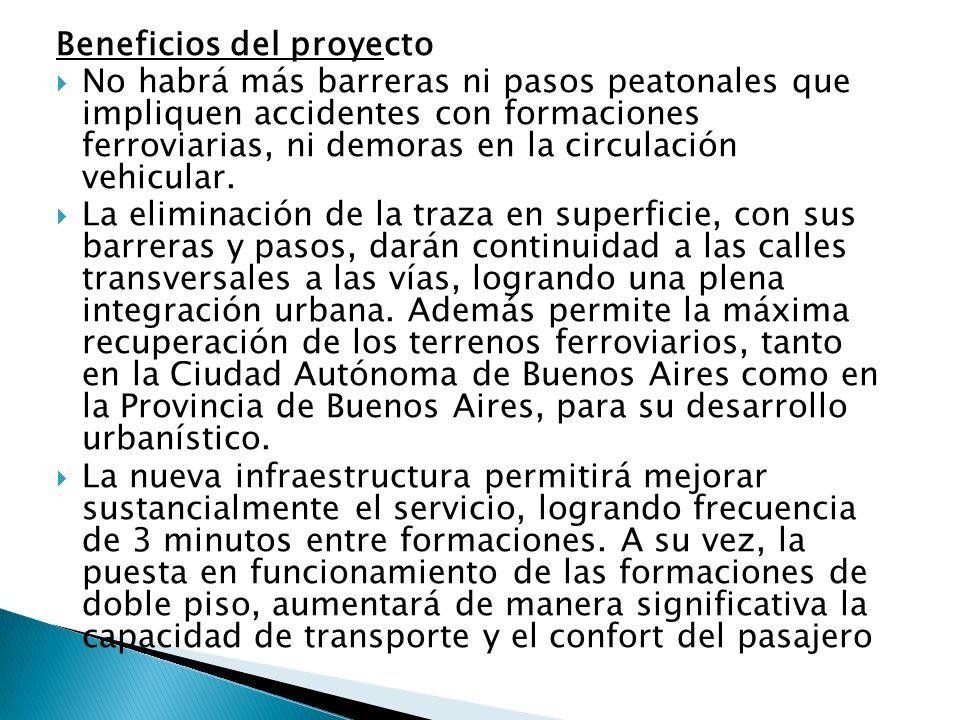 Beneficios del proyecto No habrá más barreras ni pasos peatonales que impliquen accidentes con formaciones ferroviarias, ni demoras en la circulación