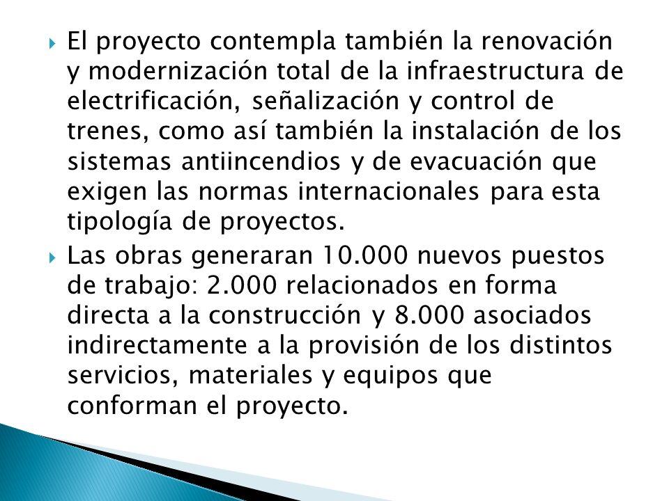 El proyecto contempla también la renovación y modernización total de la infraestructura de electrificación, señalización y control de trenes, como así