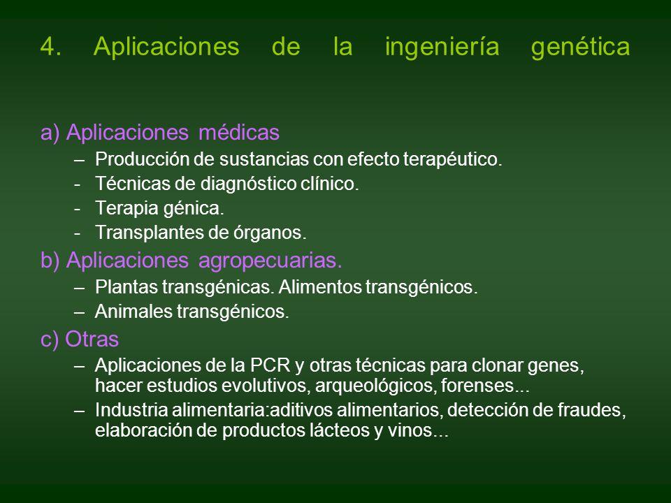 a) Aplicaciones médicas –Producción de sustancias con efecto terapéutico. -Técnicas de diagnóstico clínico. -Terapia génica. -Transplantes de órganos.