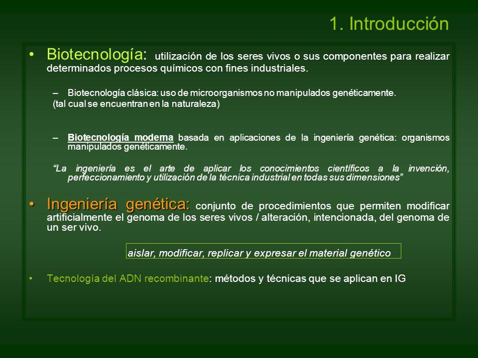 1. Introducción Biotecnología: utilización de los seres vivos o sus componentes para realizar determinados procesos químicos con fines industriales. –