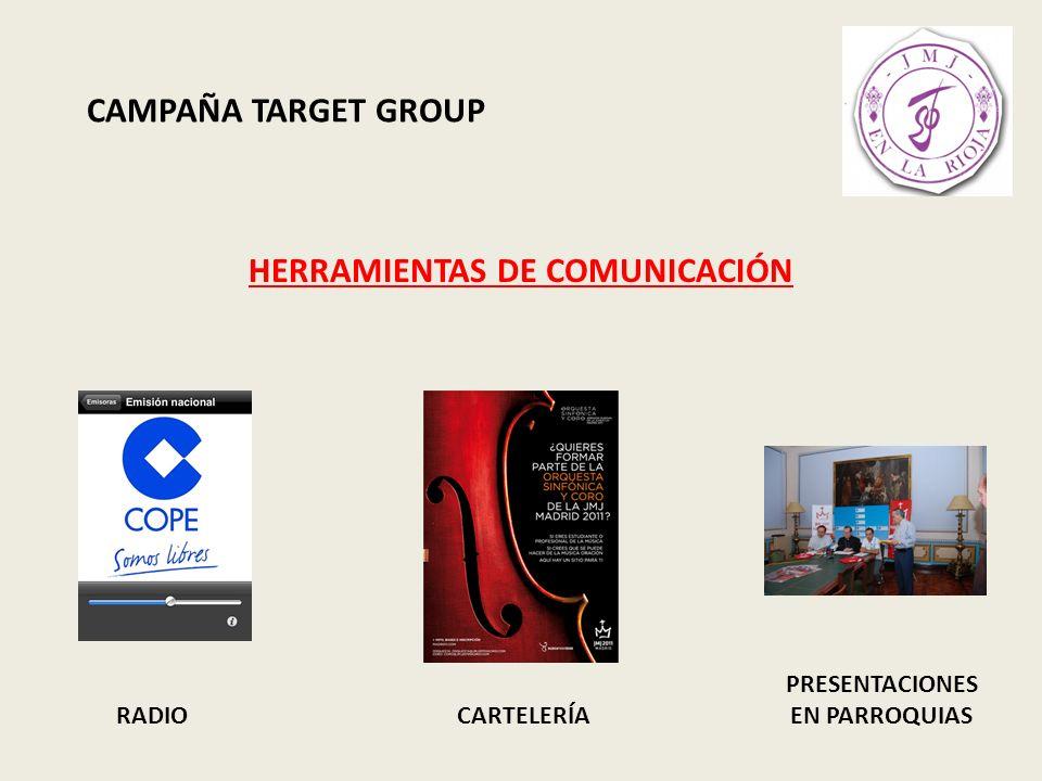 CAMPAÑA TARGET GROUP HERRAMIENTAS DE COMUNICACIÓN RADIO: Consistirá en 2 cuñas informativas grabadas para la cadena COPE y que servirá de apoyo a la inscripción de voluntarios, principalmente en La Rioja y haciendo hincapié en Logroño.