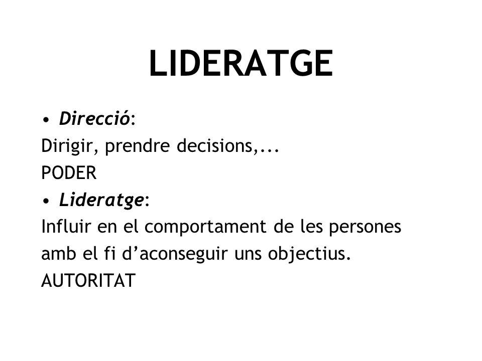 Direcció: Dirigir, prendre decisions,... PODER Lideratge: Influir en el comportament de les persones amb el fi daconseguir uns objectius. AUTORITAT LI