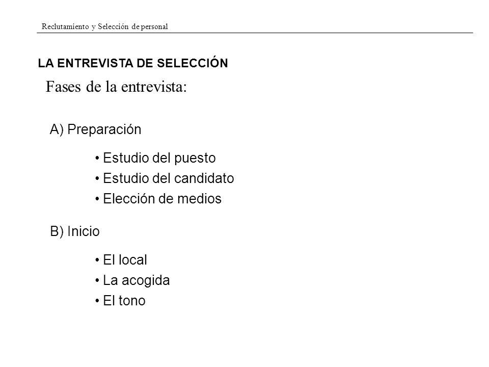 Reclutamiento y Selección de personal LA ENTREVISTA DE SELECCIÓN Fases de la entrevista: A) Preparación Estudio del puesto Estudio del candidato B) In
