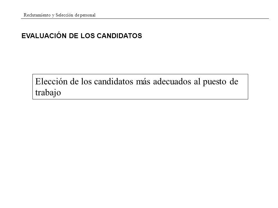 Reclutamiento y Selección de personal EVALUACIÓN DE LOS CANDIDATOS Elección de los candidatos más adecuados al puesto de trabajo