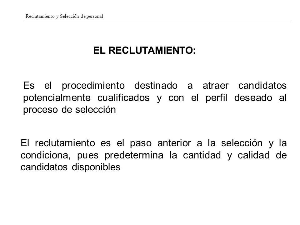 Reclutamiento y Selección de personal EL RECLUTAMIENTO EXTERNO: Facultades, escuelas de negocio, centros de formación profesional, etc..