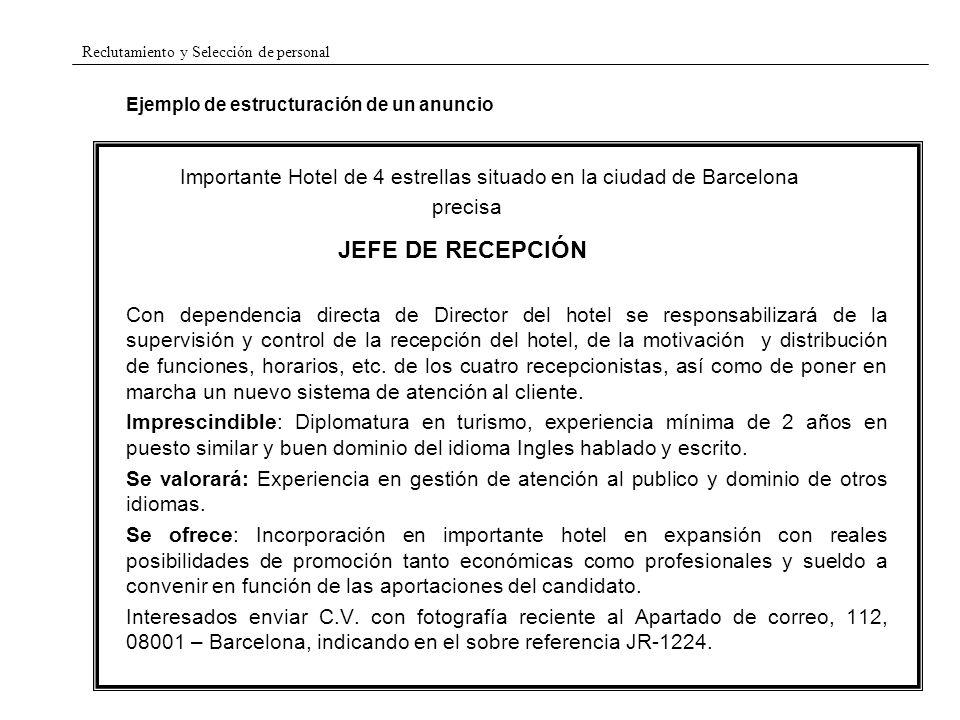 Reclutamiento y Selección de personal Ejemplo de estructuración de un anuncio Importante Hotel de 4 estrellas situado en la ciudad de Barcelona precis