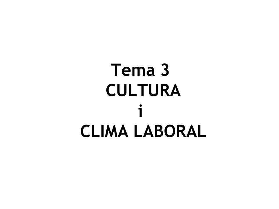Tema 3 CULTURA i CLIMA LABORAL