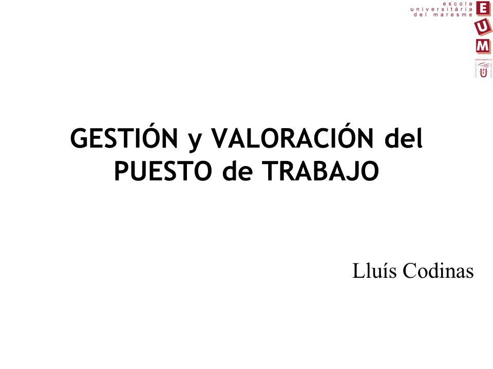 GESTIÓN y VALORACIÓN del PUESTO de TRABAJO Lluís Codinas