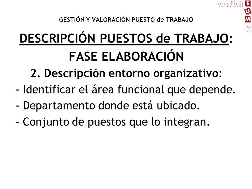 DESCRIPCIÓN PUESTOS de TRABAJO: FASE ELABORACIÓN 2. Descripción entorno organizativo: - Identificar el área funcional que depende. - Departamento dond