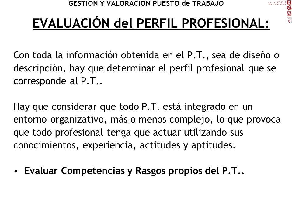 EVALUACIÓN del PERFIL PROFESIONAL: Con toda la información obtenida en el P.T., sea de diseño o descripción, hay que determinar el perfil profesional