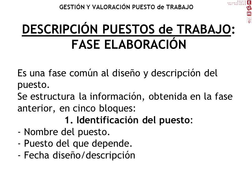 DESCRIPCIÓN PUESTOS de TRABAJO: FASE ELABORACIÓN Es una fase común al diseño y descripción del puesto. Se estructura la información, obtenida en la fa