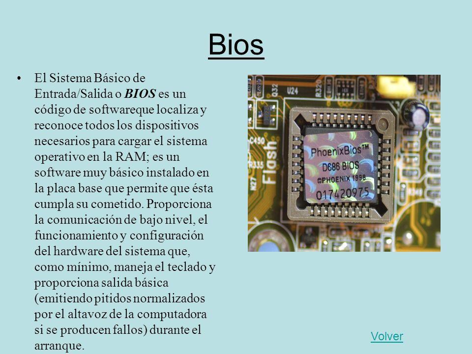 Bios El Sistema Básico de Entrada/Salida o BIOS es un código de softwareque localiza y reconoce todos los dispositivos necesarios para cargar el siste