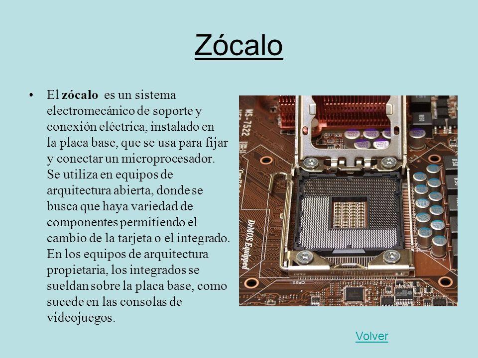 Zócalo El zócalo es un sistema electromecánico de soporte y conexión eléctrica, instalado en la placa base, que se usa para fijar y conectar un microp