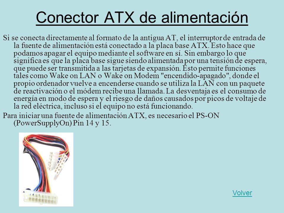 Conector ATX de alimentación Si se conecta directamente al formato de la antigua AT, el interruptor de entrada de la fuente de alimentación está conec