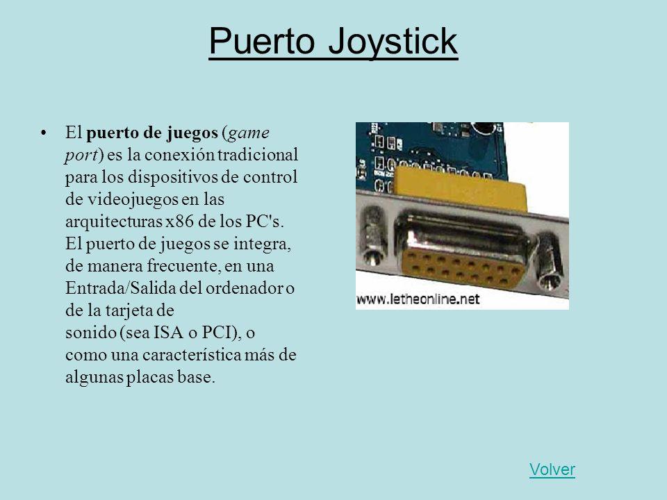 Puerto Joystick El puerto de juegos (game port) es la conexión tradicional para los dispositivos de control de videojuegos en las arquitecturas x86 de