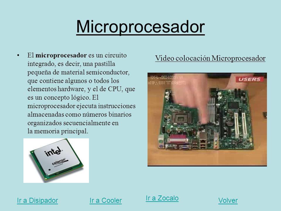 Microprocesador El microprocesador es un circuito integrado, es decir, una pastilla pequeña de material semiconductor, que contiene algunos o todos lo