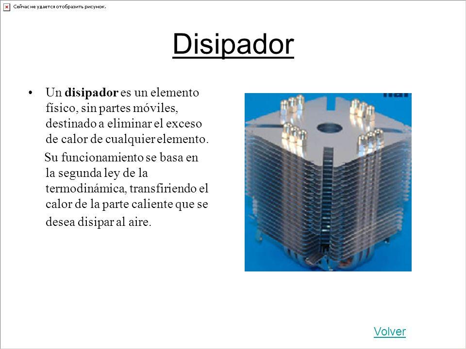 Disipador Un disipador es un elemento físico, sin partes móviles, destinado a eliminar el exceso de calor de cualquier elemento. Su funcionamiento se