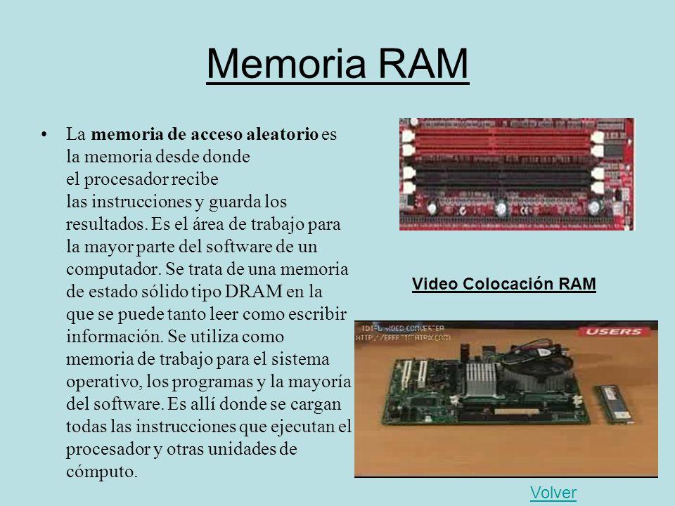 Memoria RAM La memoria de acceso aleatorio es la memoria desde donde el procesador recibe las instrucciones y guarda los resultados. Es el área de tra