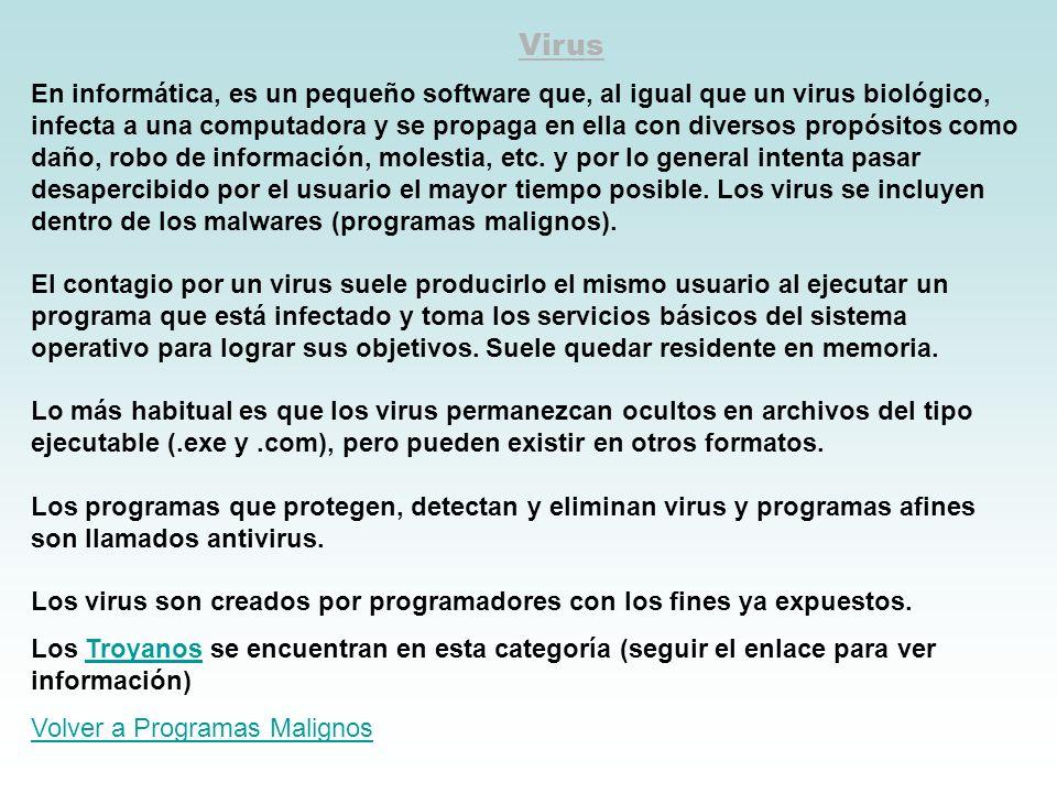 Virus En informática, es un pequeño software que, al igual que un virus biológico, infecta a una computadora y se propaga en ella con diversos propósi