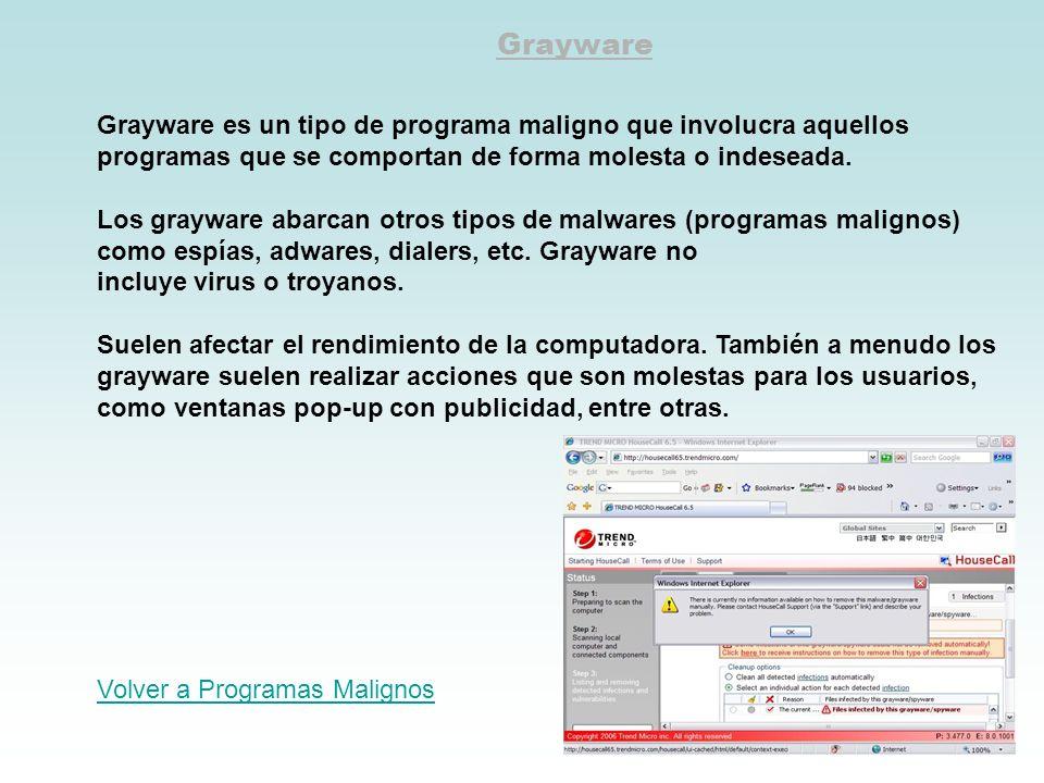 Grayware Grayware es un tipo de programa maligno que involucra aquellos programas que se comportan de forma molesta o indeseada. Los grayware abarcan